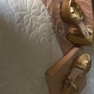 Prada Glamorous Gold Sandals